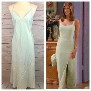 Jenny Yoo Formal Satin Sea Green Maxi Slip Dress
